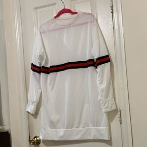White shirt dress wit red and black stripes